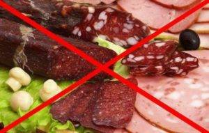 запрещены жирные сорта мяса и рыбы