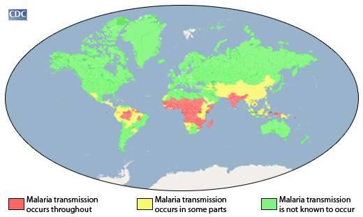 районы малярии