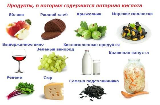 Янтарная кислота в каких продуктах содержится