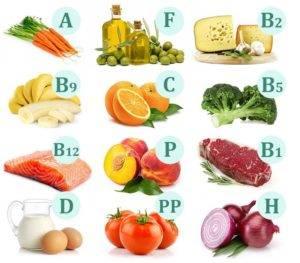 продукты, богатые витаминами B, C, D и E